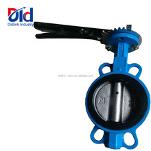 Low Pressure Handle With Handwheel Wafer Soft Seal DN100 DI Double Eccentric Cast Iron Water Butterfly Valve