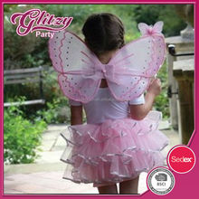 FTW-01 2015 Childrens Pink Butterfly Fairy Princess Wings girls Tutu Skirt & Wand Tinkerbell Fairy multi-layers tulle Tutu