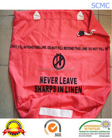 Customized special red 100% polyester hospital printing drawstring laundry bag