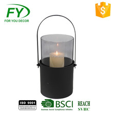 Modern techniques made in China wholesale daily use black metal candle lantern for yard decor