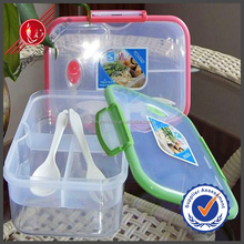 Utility Kithchen Accessories Rectangle Transparant 3 Compartments Food Packing Bento Lunch Box