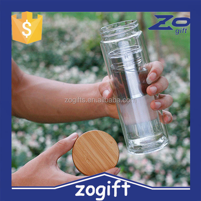 ZOGIFT OEM eco bamboo lid tea infuser unique water bottle with screwed lid