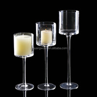 Tall long-stem glass candle holders/ Tall glass cup vase tealight candle holders