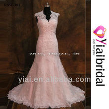 RSW391 Full Lace Cap Sleeve Trumpet Wedding Dress Buttons Down Back