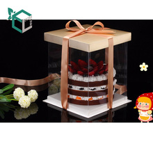 Factory Price Custom Logo Square Visible Clear Plastic Paper Packaging Birthday Cake Box