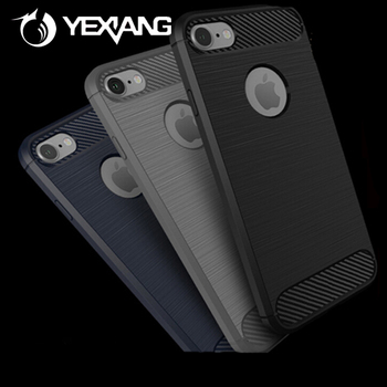 Brush Carbon Fiber Pattern TPU Mobile Phone Case Back Cover For iPhone 7