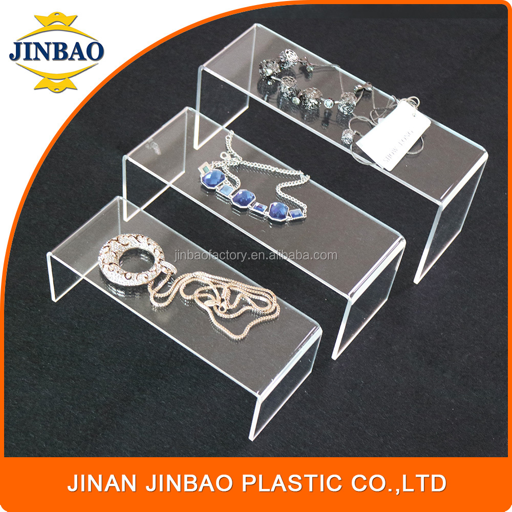 JINBAO 2017 new product customized gold and diamond counter jewelry display case clear acrylic