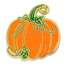 Holiday gold enamel pumpkin shape halloween custom lapel pin