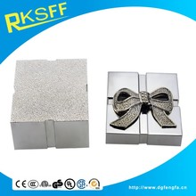 small silver bowknot decorated metal box for jewelry