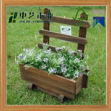 2016 new arrival handmade natural wood garden wooden flower pot outdoor wooden planter pots