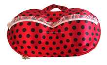 New Arrival factory OEM top red satin beautiful lace panty travel EVA bra storage bags