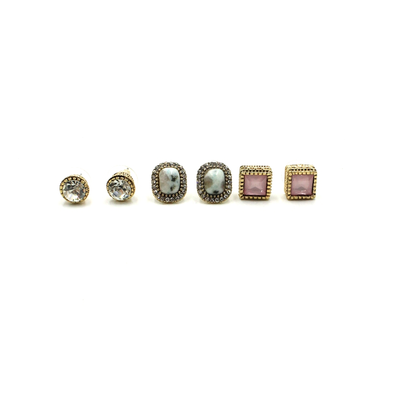 Retro Style Women New Design Jewelry 3 Pairs Fashion Stud Earrings Set Girl's Small Stud