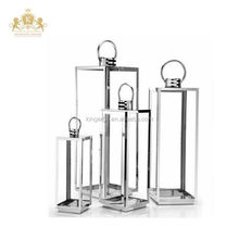 Shiny modern outdoor stainless steel candle holder metal lantern