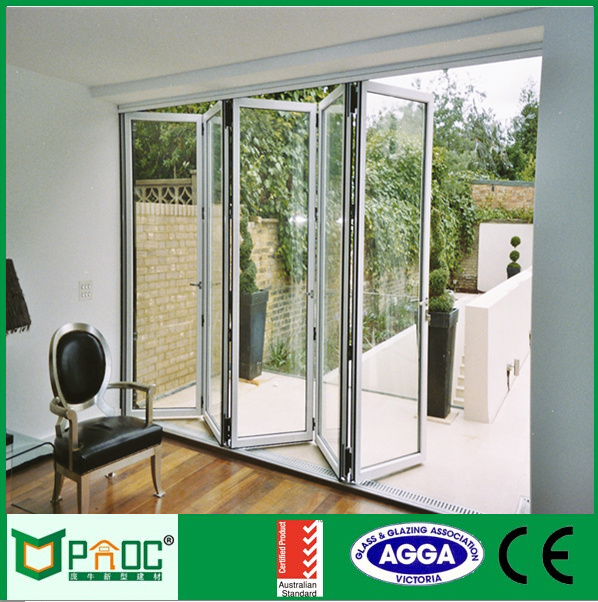 Exterior commercial accordion folding doors with locks