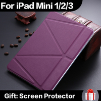 Ultrathin PU Leather Case For iPad mini 1 2 3 Smart Magnetic Wake Sleep Cover TPU Back Adjustable Stand