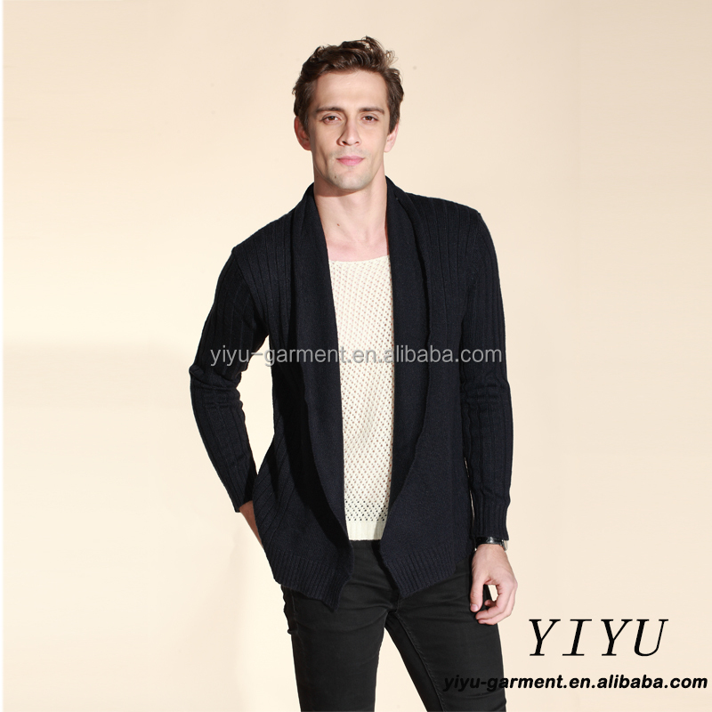 Fashion new design long sleeves buttonless lapel thin warm cardigan sweater for men
