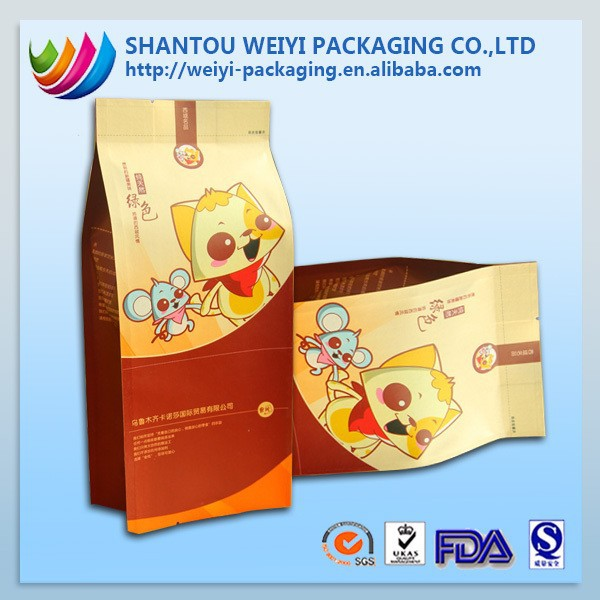 2015 NEW square base plastic bag printing for food bag