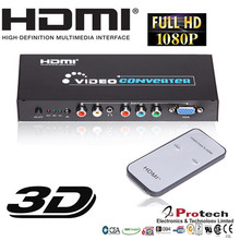 5 RCA Component Video YPbpr RGB +Audio To HDMI Video Converter PSP STB XBOX PS2 PAL / NTSC