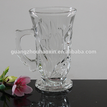 2015 High white material glass cup with handle wholesale (factory price)