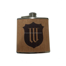 Factory OEM wooden hip flask with customized logo 6OZ