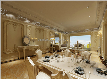 Elegant 3d Wall Panel Rendering House Interior Design for Living and Dining Room