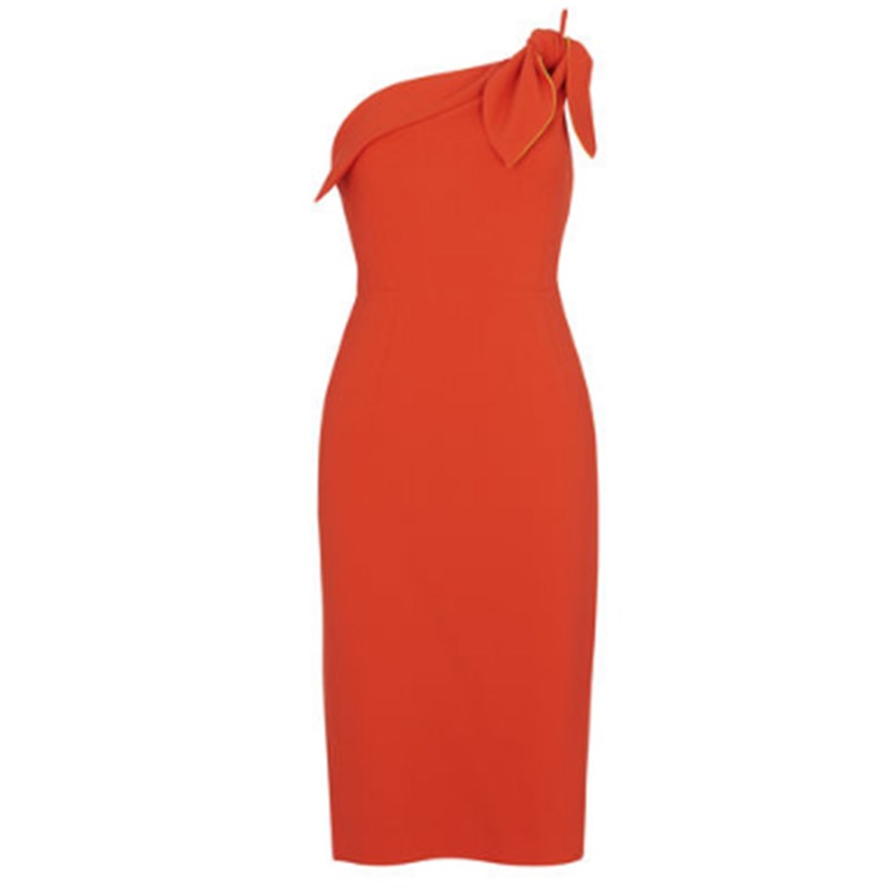 New morden orange summer one-shoulder beach party wear dress women casual