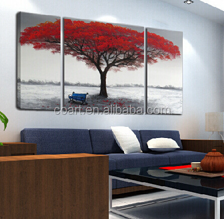 Modern red tree handmade abstract painting on canvas