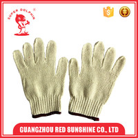 Cheap raw white poly cotton knitted gloves