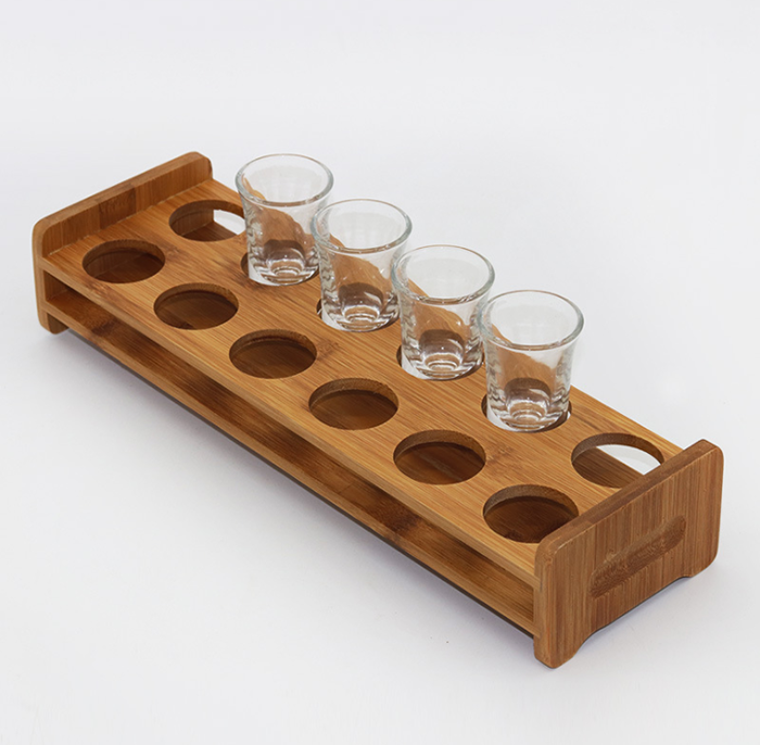 FSC Shot glass wood tray long handle