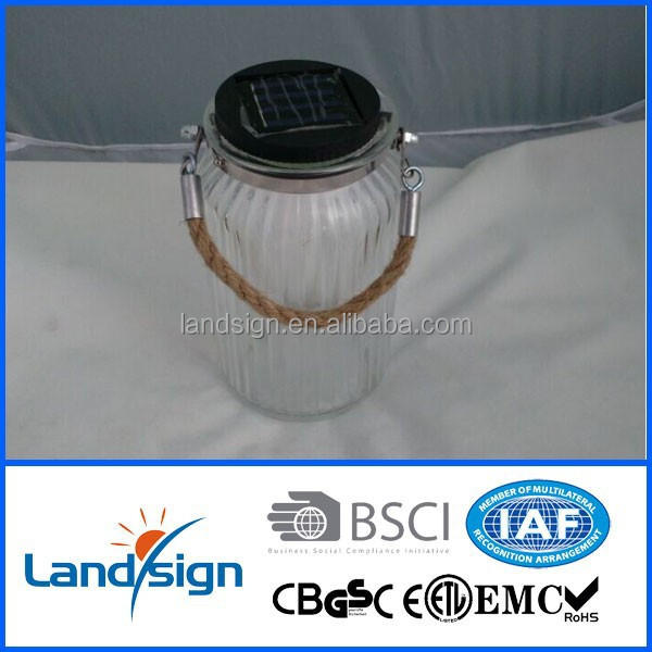 Ningbo commodity decorative series solar lantern for indoor&outdoor use powerful led solar glass jar light 2 in 1