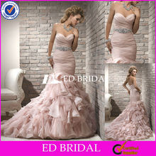 T68 special trailing mermaid strapless sweetheart lace up ruffle fishtail wedding dress