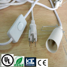 EU/UK/US/SAA 250V power cord cable with 303/304switch+ 14/E27 bulb holder for SAA/VDE/ccUL