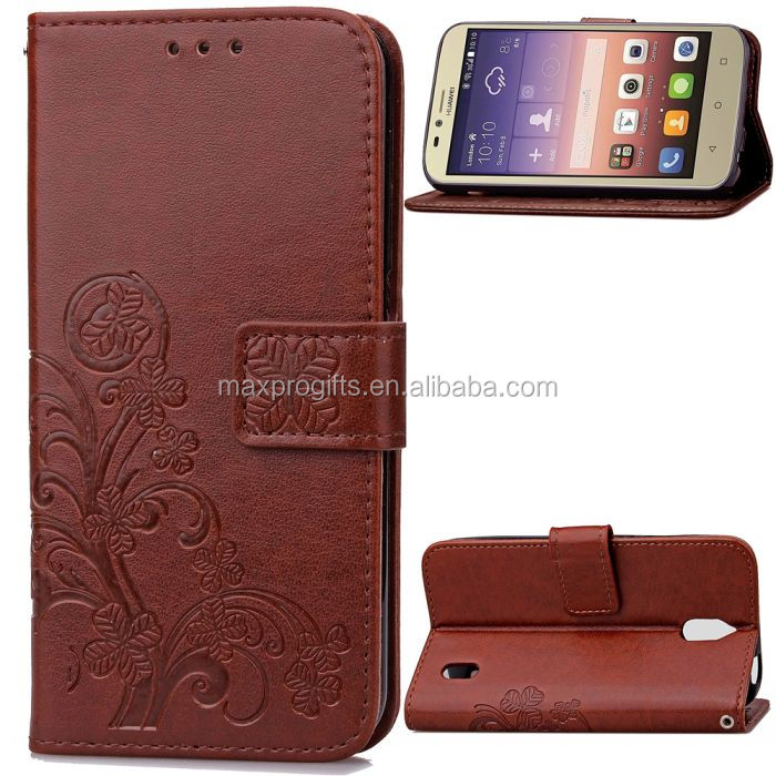 cheap leather flip case wallet for huawei y625 brown