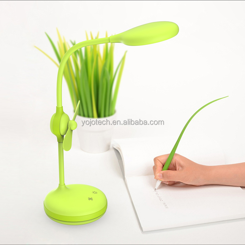 Rechargeable led table lamp with touch fan 2 level speed