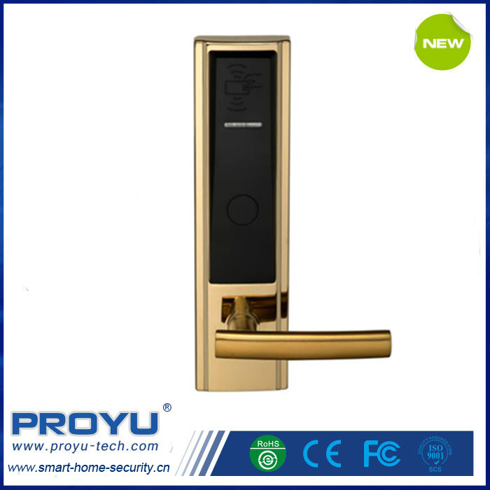 Luxury Zinc Alloy RFID hotel key card lock for middle hotel with intelligent system and software PY-8302-J