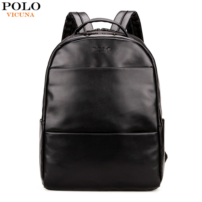 VICUNA POLO 2017 Fashion Preppy Style Unisex School Bag For Teenage Black Leather Rucksack Travel Backpack Hot Product