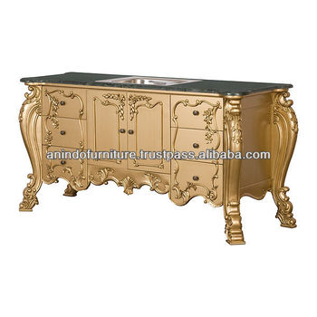 Heavy Carved Bathroom Vanity with Marble Top