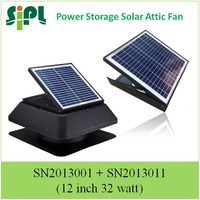 square solar powered attic exhaust fan with storage battery