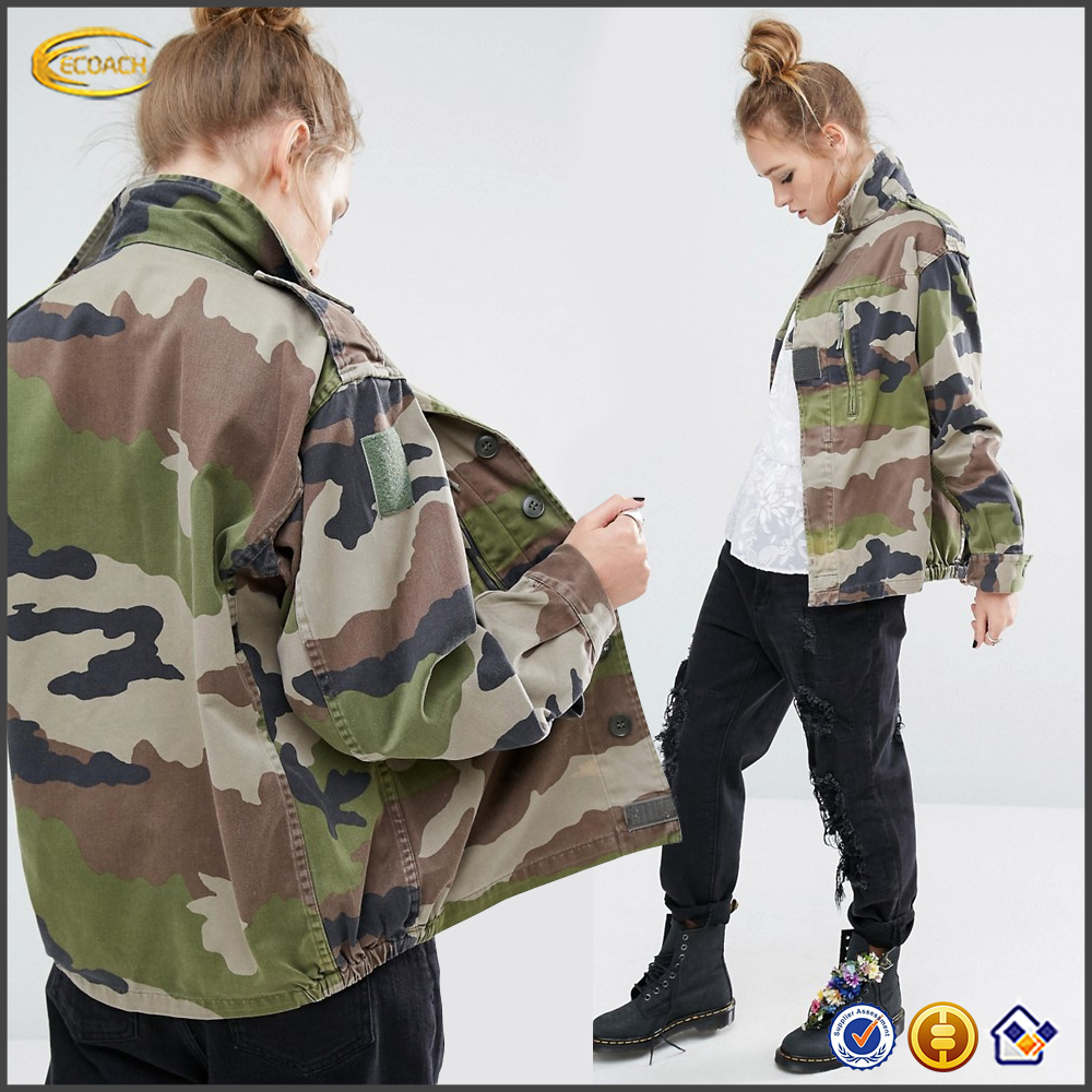Ecoach Vintage style women Shoulder epaulettes Button placket camo jackets high quality chest zipper Military Jacket 2016