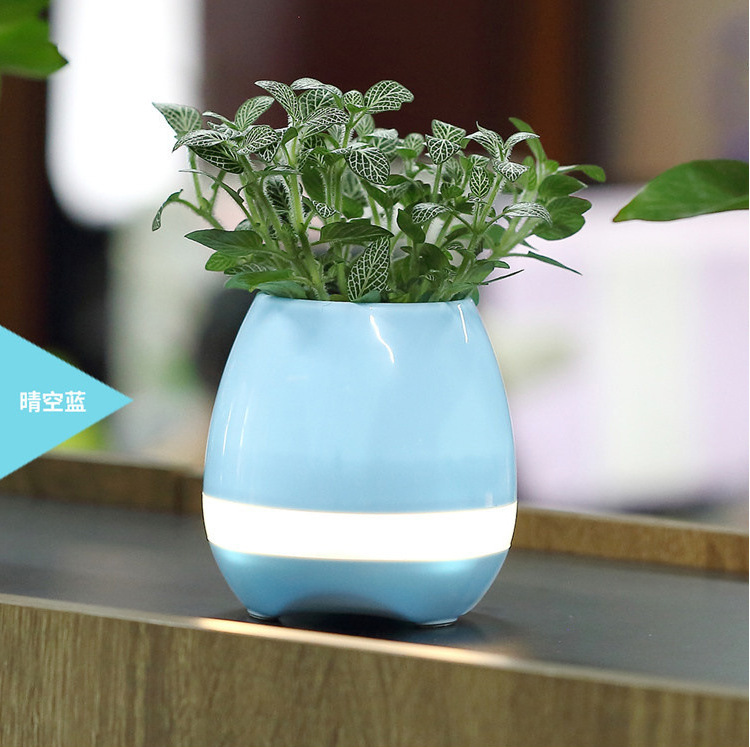 4 Channels Computer,Portable Audio Player,Mobile Phone Use Flower pot Real Plant ABS plastic flower pot with bluetooth speaker