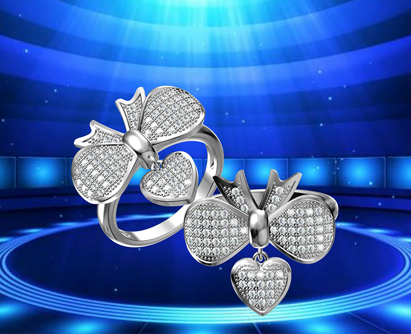 2017 New princess cross heart shape band rings with good quality