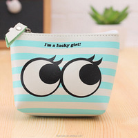 Sky Blue PU Leather Custom Cheap Lucky Girl Coin Purse