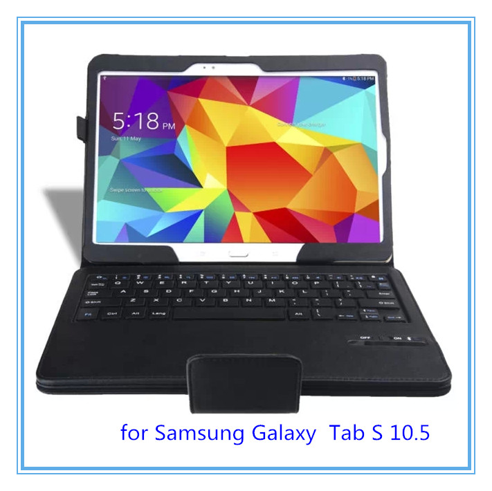 Hot New 2014 10.5'' Black Wireless Bluetooth Keyboard Stand Leather Tablet Case Cover for Samsung Galaxy Tab S 10.5