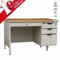 Luoyang modern wood top steel laptop table/computer desk with cabinet