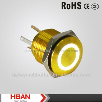 Industrial mini CE ROHS (16mm)ring-illuminated, Momentary, IP65 switch ,motorcycle push button