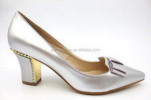 pu with plastic women middle heel shoes with rivet.new fashion high heel shoes for lady