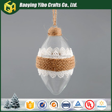 Clear double point glass balls with hemo rope decoration