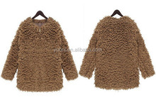 Brown Fleece faux fur coat for ladies/Women's Plush Cashmere terry short outwear