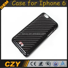 R Logo Slim Carbon Mobile phone Case for Iphone 6 with real black