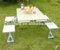 Outdoor folding aluminum picnic table set with 4 chairs